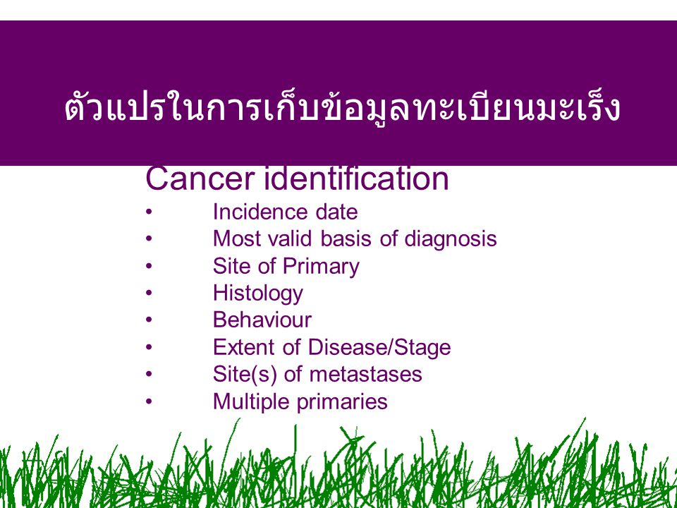 The Tumour Cancer identification Incidence date Most valid basis of diagnosis Site of Primary Histology Behaviour Extent of Disease/Stage Site(s) of metastases Multiple primaries ตัวแปรในการเก็บข้อมูลทะเบียนมะเร็ง