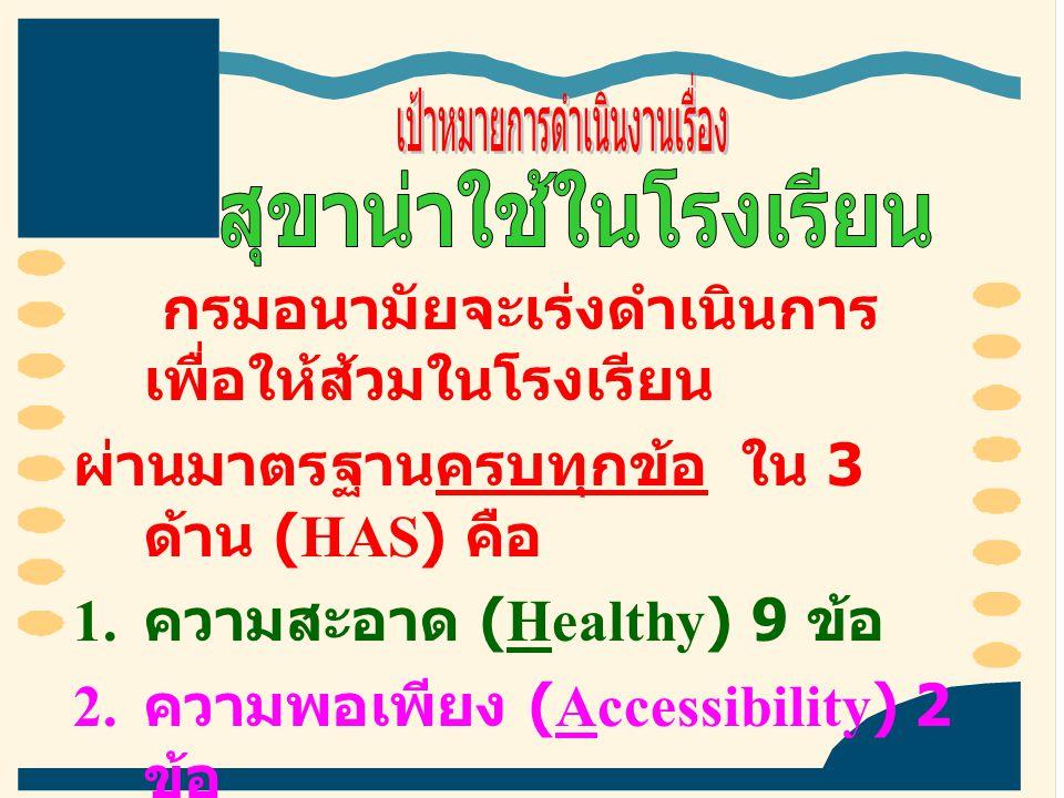 กรมอนามัยจะเร่งดำเนินการ เพื่อให้ส้วมในโรงเรียน ผ่านมาตรฐานครบทุกข้อ ใน 3 ด้าน (HAS) คือ 1. ความสะอาด (Healthy) 9 ข้อ 2. ความพอเพียง (Accessibility) 2