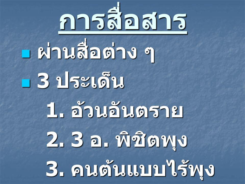 การสื่อสาร ผ่านสื่อต่าง ๆ ผ่านสื่อต่าง ๆ 3 ประเด็น 3 ประเด็น 1. อ้วนอันตราย 2. 3 อ. พิชิตพุง 3. คนต้นแบบไร้พุง