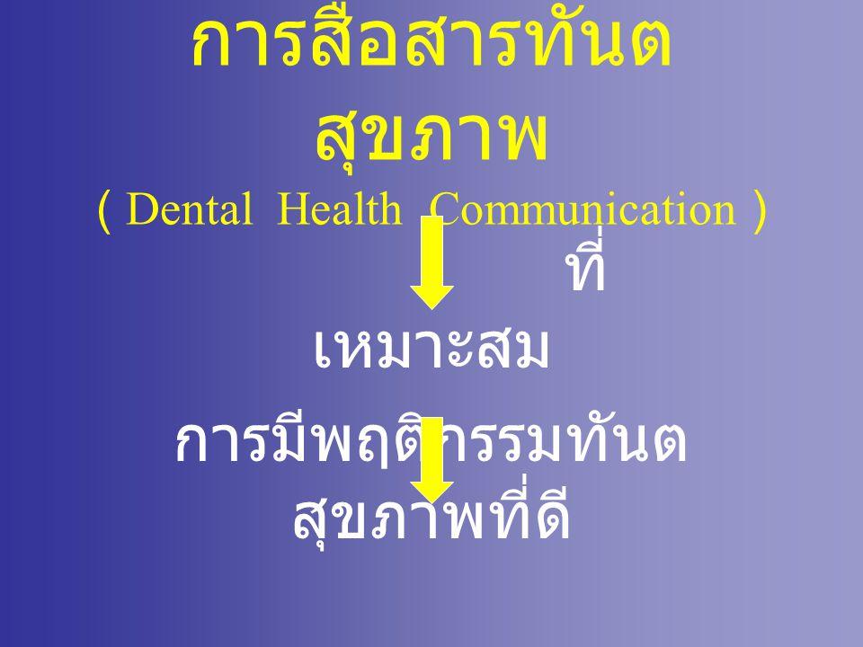 การสื่อสารทันต สุขภาพ ( Dental Health Communication ) ที่ เหมาะสม การมีพฤติกรรมทันต สุขภาพที่ดี ฟันดี