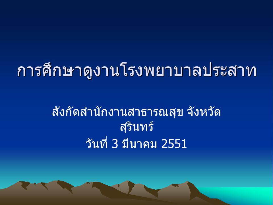การศึกษาดูงานโรงพยาบาลประสาท สังกัดสำนักงานสาธารณสุข จังหวัด สุรินทร์ วันที่ 3 มีนาคม 2551
