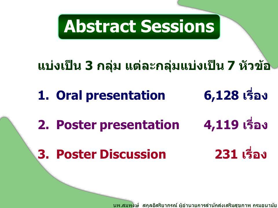 แบ่งเป็น 3 กลุ่ม แต่ละกลุ่มแบ่งเป็น 7 หัวข้อ 1.Oral presentation6,128 เรี่อง 2.Poster presentation4,119 เรี่อง 3.Poster Discussion 231 เรี่อง Abstract Sessions