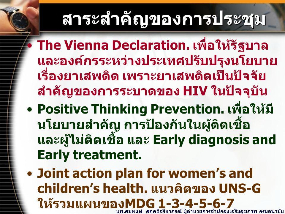 สาระสำคัญของการประชุม The Vienna Declaration.