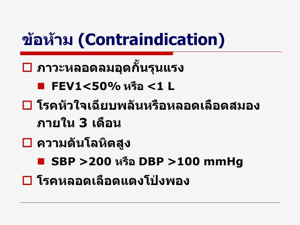 ข้อห้าม (Contraindication)  ภาวะหลอดลมอุดกั้นรุนแรง FEV1<50% หรือ <1 L  โรคหัวใจเฉียบพลันหรือหลอดเลือดสมอง ภายใน 3 เดือน  ความดันโลหิตสูง SBP >200