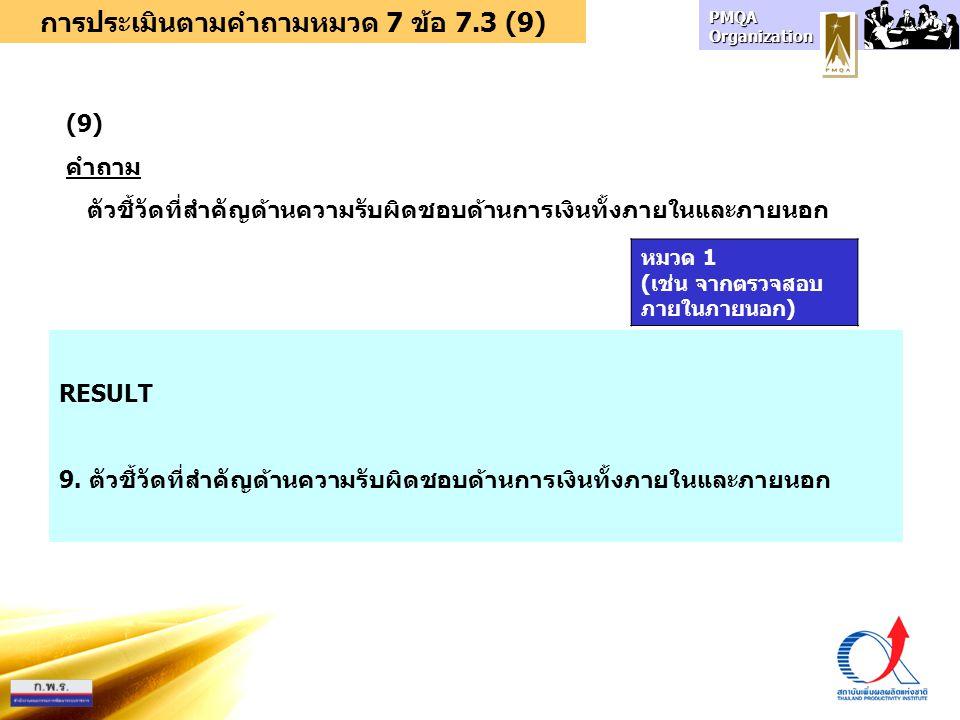 การประเมินตามคำถามหมวด 7 ข้อ 7.3 (9) (9) คำถาม ตัวชี้วัดที่สำคัญด้านความรับผิดชอบด้านการเงินทั้งภายในและภายนอก RESULT 9. ตัวชี้วัดที่สำคัญด้านความรับผ