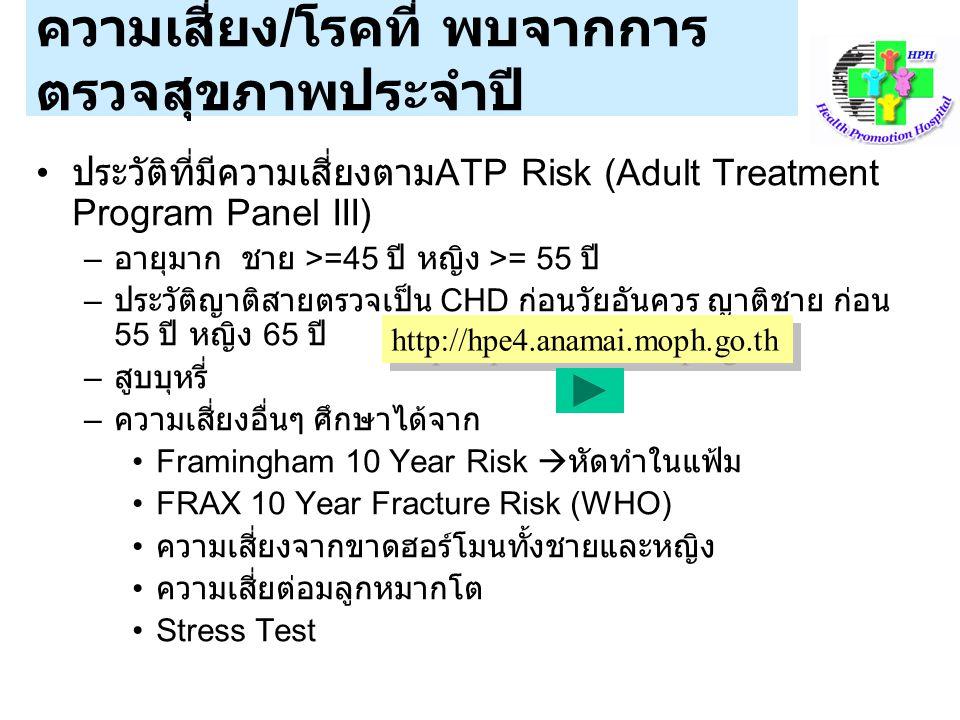 ความเสี่ยง / โรคที่ พบจากการ ตรวจสุขภาพประจำปี ประวัติที่มีความเสี่ยงตาม ATP Risk (Adult Treatment Program Panel III) – อายุมาก ชาย >=45 ปี หญิง >= 55 ปี – ประวัติญาติสายตรวจเป็น CHD ก่อนวัยอันควร ญาติชาย ก่อน 55 ปี หญิง 65 ปี – สูบบุหรี่ – ความเสี่ยงอื่นๆ ศึกษาได้จาก Framingham 10 Year Risk  หัดทำในแฟ้ม FRAX 10 Year Fracture Risk (WHO) ความเสี่ยงจากขาดฮอร์โมนทั้งชายและหญิง ความเสี่ยต่อมลูกหมากโต Stress Test http://hpe4.anamai.moph.go.th
