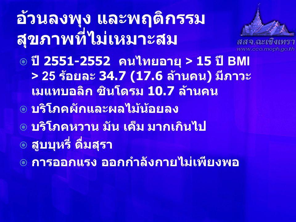 อ้วนลงพุง และพฤติกรรม สุขภาพที่ไม่เหมาะสม  ปี 2551-2552 คนไทยอายุ > 15 ปี BMI > 25 ร้อยละ 34.7 (17.6 ล้านคน ) มีภาวะ เมแทบอลิก ซินโดรม 10.7 ล้านคน  บริโภคผักและผลไม้น้อยลง  บริโภคหวาน มัน เค็ม มากเกินไป  สูบบุหรี่ ดื่มสุรา  การออกแรง ออกกำลังกายไม่เพียงพอ