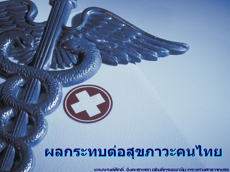 การสูญเสียปีสุขภาวะคนไทย (Daly's LOSS) กลุ่มอายุปัญหาสุขภาพ แรกเกิด – 14 ปีทารกน้ำหนักน้อย ทารกขาดออกซิเจน 15 – 29 ปีเอดส์ อุบัติเหตุ ยาเสพติด จิตเภท พิษสุราเรื้อรัง 30 – 59 ปีเอดส์ อุบัติเหตุ เบาหวาน มะเร็งตับ 60 ปีขึ้นไปโรคหลอดเลือดสมอง ถุงลมโป่งพอง เบาหวาน