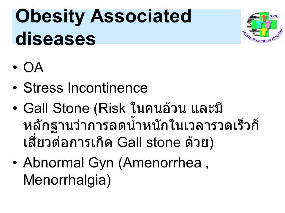 Indication ที่ต้องลดน้ำหนัก ได้แก่ 1.Obesity (BMI >=27.5) 2.Overweight(BMI 23-27.4) + ATP Risk >=2 ข้อ 3.