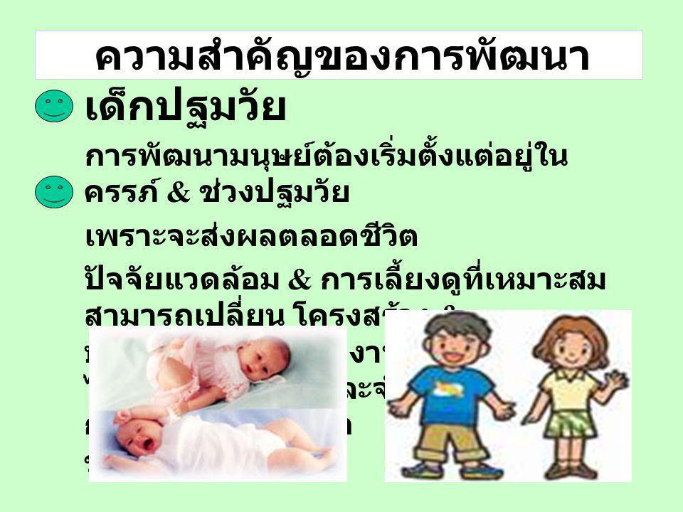 แผนแม่บทการพัฒนาเด็กปฐมวัย (2551-2553) เตรียมความพร้อมคู่สมรสใหม่ ครอบครัว ญาติ พี่เลี้ยงเด็ก ชุมชน กลุ่มแกนนำ อาสาสมัคร องค์กรพัฒนาเด็ก ประชาชน ทั่วไ