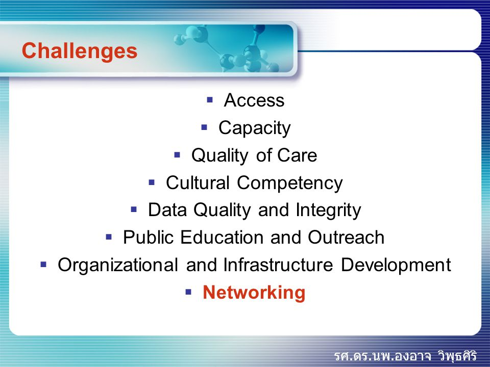 รศ.ดร.นพ.องอาจ วิพุธศิริ Challenges  Access  Capacity  Quality of Care  Cultural Competency  Data Quality and Integrity  Public Education and Ou