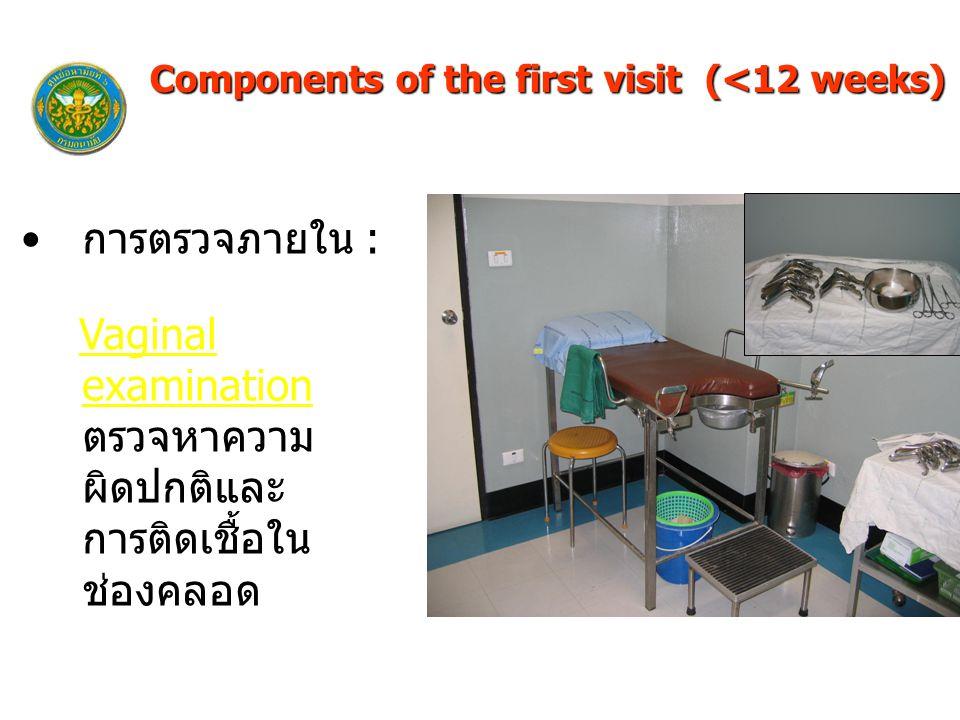 การตรวจภายใน : Vaginal examination ตรวจหาความ ผิดปกติและ การติดเชื้อใน ช่องคลอด Components of the first visit (<12 weeks)