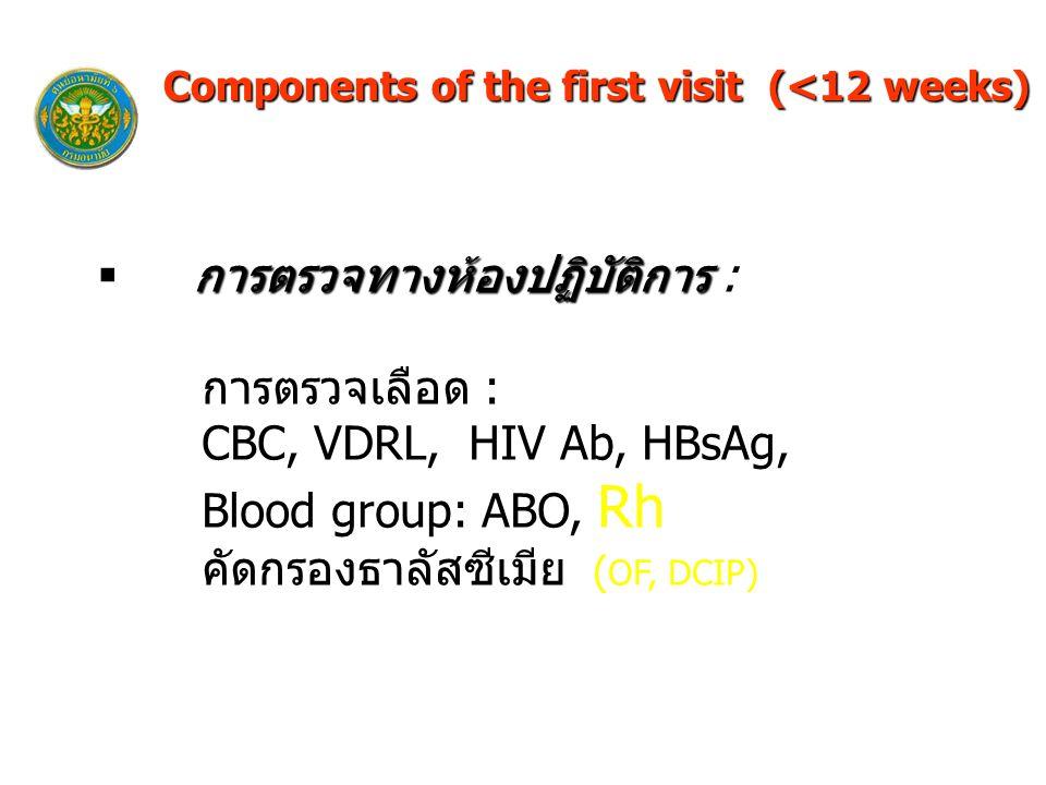 การตรวจทางห้องปฏิบัติการ  การตรวจทางห้องปฏิบัติการ : การตรวจเลือด : CBC, VDRL, HIV Ab, HBsAg, Blood group: ABO, Rh คัดกรองธาลัสซีเมีย ( OF, DCIP) Components of the first visit (<12 weeks)