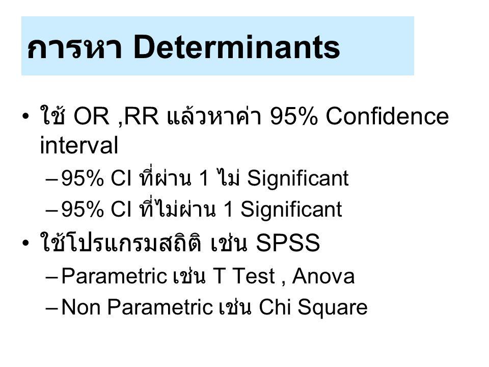 การหา Determinants ใช้ OR,RR แล้วหาค่า 95% Confidence interval –95% CI ที่ผ่าน 1 ไม่ Significant –95% CI ที่ไม่ผ่าน 1 Significant ใช้โปรแกรมสถิติ เช่น