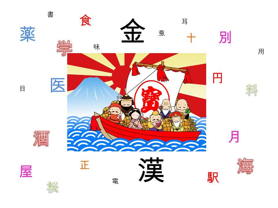 書 目 耳 十 味 正 用 意 医 漢 円 駅 電 別 薬 金 月 屋 食
