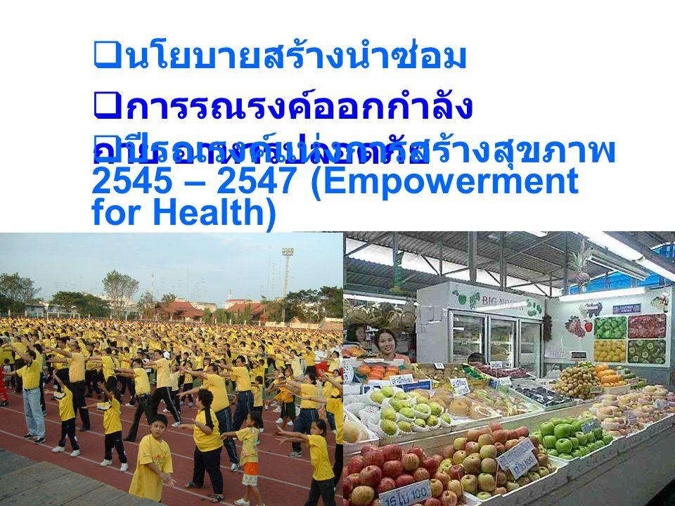  นโยบายสร้างนำซ่อม  การรณรงค์ออกกำลัง กาย อาหารปลอดภัย  ปีรณรงค์แห่งการสร้างสุขภาพ 2545 – 2547 (Empowerment for Health)