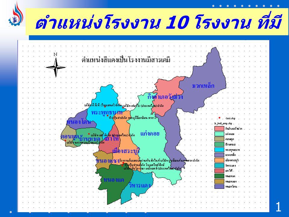 ตำแหน่งโรงงาน 10 โรงงาน ที่มี ปริมาณการใช้สารเคมี 1616