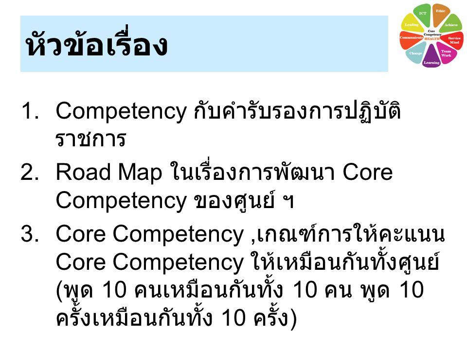 หัวข้อเรื่อง 1.Competency กับคำรับรองการปฏิบัติ ราชการ 2.Road Map ในเรื่องการพัฒนา Core Competency ของศูนย์ ฯ 3.Core Competency, เกณฑ์การให้คะแนน Core Competency ให้เหมือนกันทั้งศูนย์ ( พูด 10 คนเหมือนกันทั้ง 10 คน พูด 10 ครั้งเหมือนกันทั้ง 10 ครั้ง )