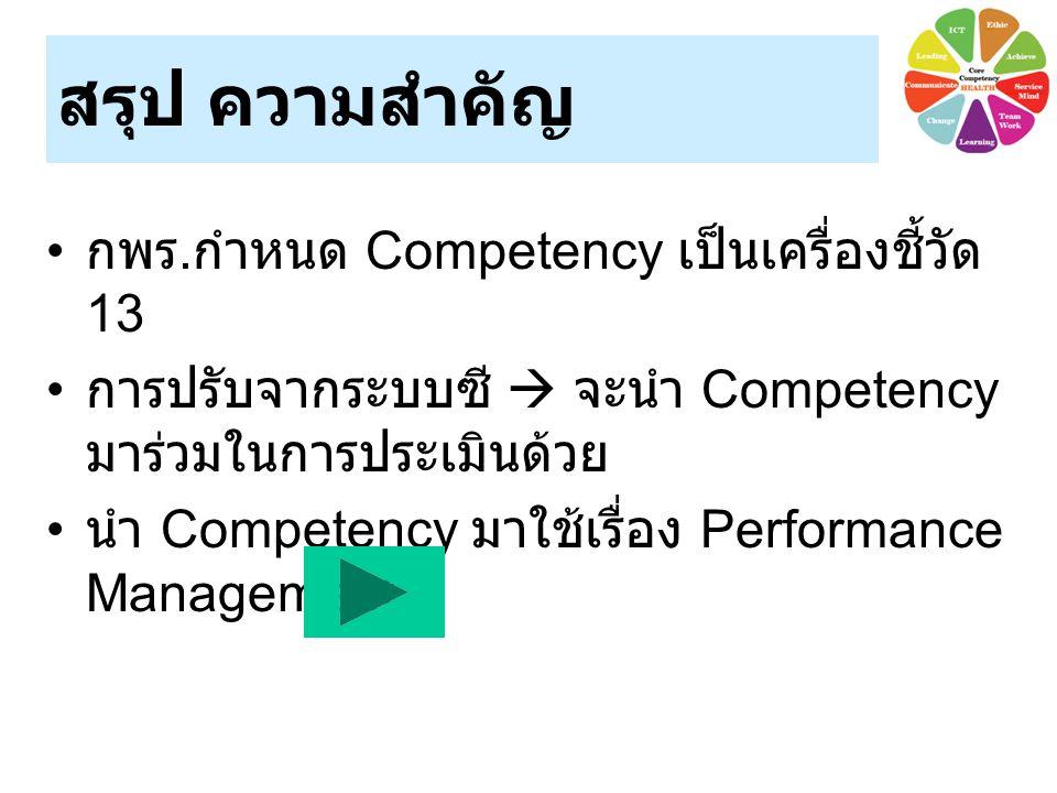 สรุป ความสำคัญ กพร. กำหนด Competency เป็นเครื่องชี้วัด 13 การปรับจากระบบซี  จะนำ Competency มาร่วมในการประเมินด้วย นำ Competency มาใช้เรื่อง Performa