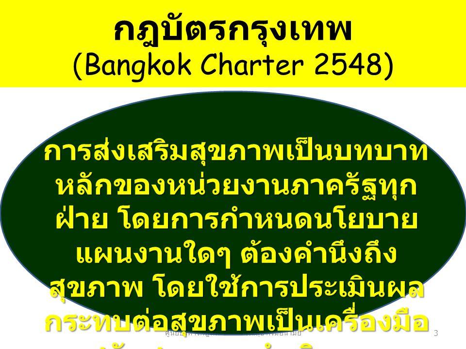 ศูนย์บริหารกฎหมายสาธารณสุข กรมอนามัย 3 กฎบัตรกรุงเทพ (Bangkok Charter 2548) การส่งเสริมสุขภาพเป็นบทบาท หลักของหน่วยงานภาครัฐทุก ฝ่าย โดยการกำหนดนโยบาย