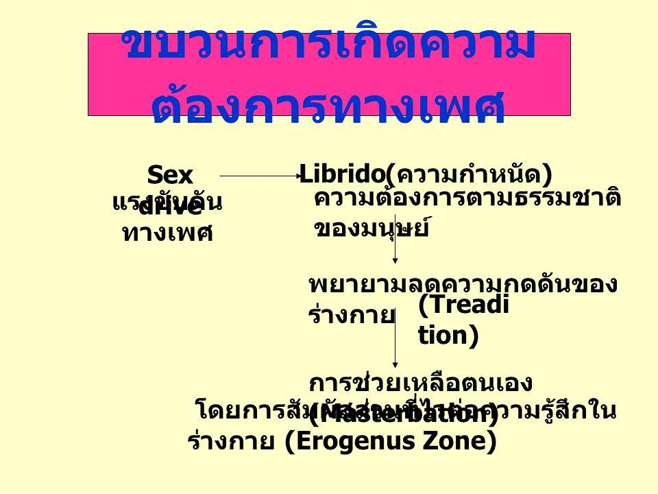 ขบวนการเกิดความ ต้องการทางเพศ Sex drive Librido แรงขับดัน ทางเพศ ( ความกำหนัด ) ความต้องการตามธรรมชาติ ของมนุษย์ พยายามลดความกดดันของ ร่างกาย การช่วยเ