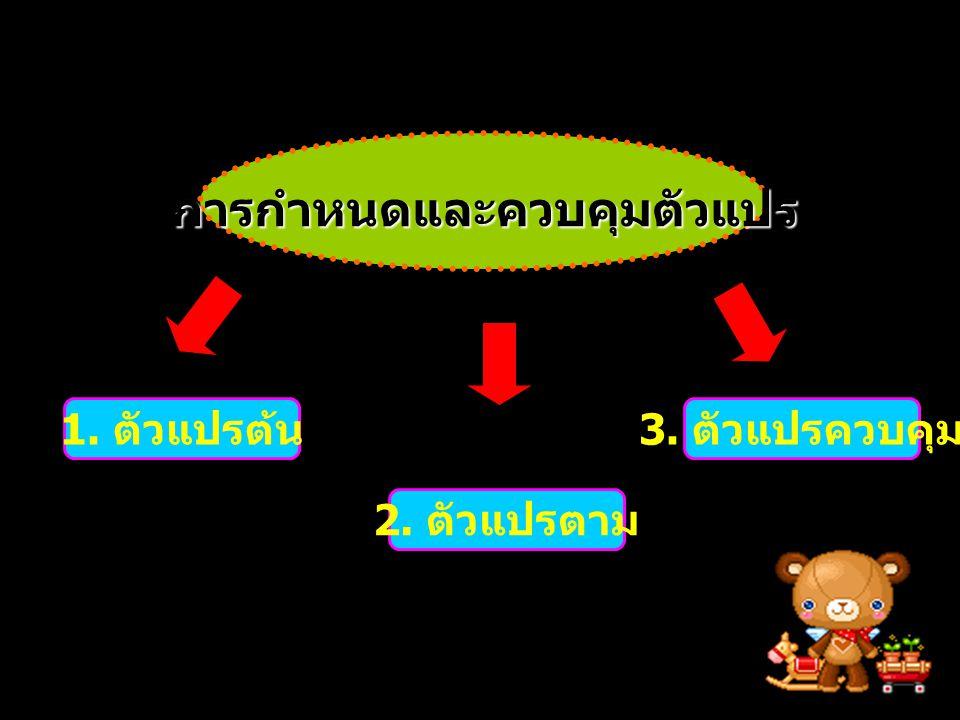1. ตัวแปรต้น 2. ตัวแปรตาม 3. ตัวแปรควบคุม การกำหนดและควบคุมตัวแปร