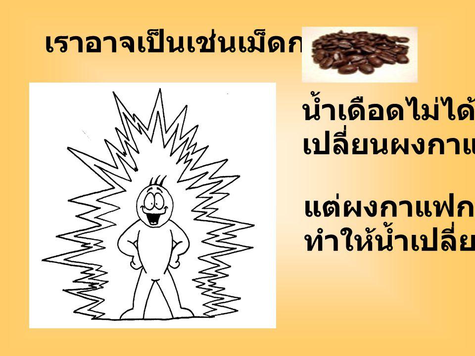 เราอาจเป็นเช่นเม็ดกาแฟ น้ำเดือดไม่ได้ เปลี่ยนผงกาแฟ แต่ผงกาแฟกลับ ทำให้น้ำเปลี่ยนไป