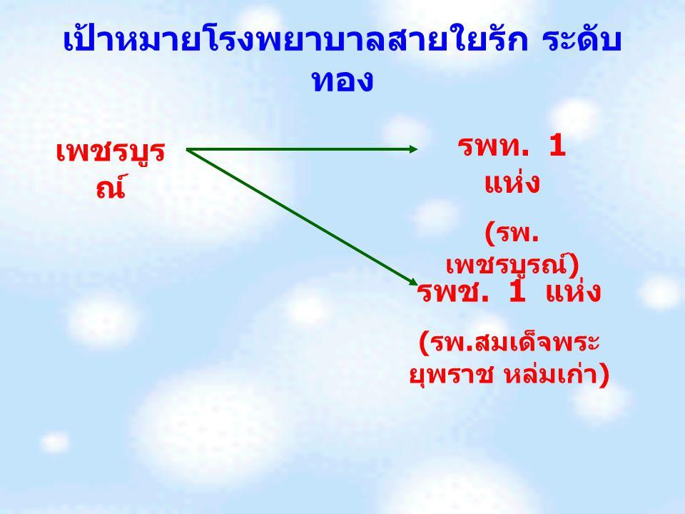 เป้าหมายโรงพยาบาลสายใยรัก ระดับ ทอง เพชรบูร ณ์ รพท. 1 แห่ง ( รพ. เพชรบูรณ์ ) รพช. 1 แห่ง ( รพ. สมเด็จพระ ยุพราช หล่มเก่า )