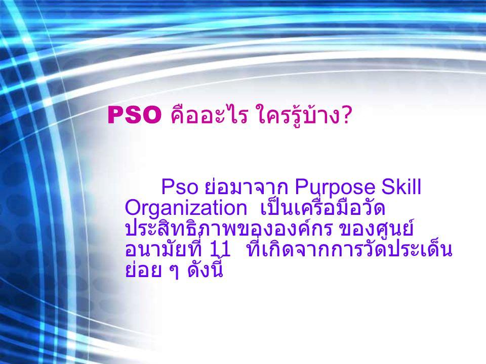 PSO คืออะไร ใครรู้บ้าง ? Pso ย่อมาจาก Purpose Skill Organization เป็นเครื่อมือวัด ประสิทธิภาพขององค์กร ของศูนย์ อนามัยที่ 11 ที่เกิดจากการวัดประเด็น ย