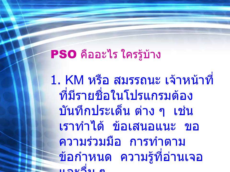 PSO คืออะไร ใครรู้บ้าง 2.KPI คือผลงานตามเป้าหมายและ ตัวชี้วัดทีม ผู้ป่วยนอกมี 88 ตัวชี้วัด