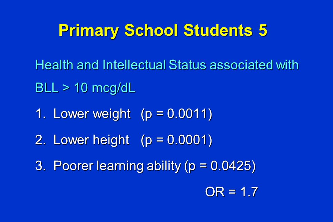 Health and Intellectual Status associated with BLL > 10 mcg/dL 1.