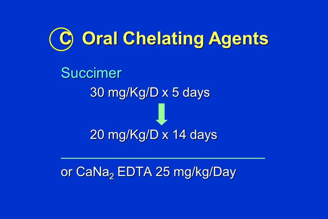 DMSA (Succimer R ) 2-3 Dimercaptosuccinic acid BAL ~ DMSA > CaNa 2 EDTA BAL ~ DMSA > CaNa 2 EDTA Advantage- oral form Advantage- oral form - selective chelator - selective chelator - iron adjunctive - iron adjunctive - yes in G-6-PD def.