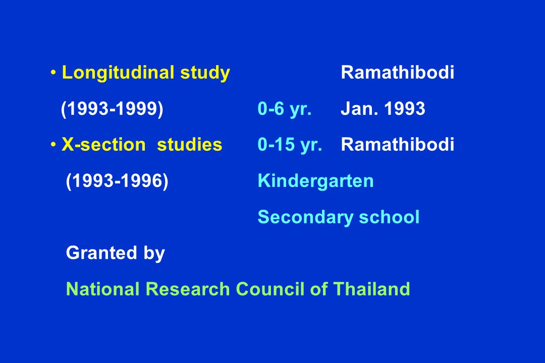 Longitudinal study Ramathibodi (1993-1999)0-6 yr. Jan. 1993 X-section studies0-15 yr. Ramathibodi (1993-1996)Kindergarten Secondary school Granted by