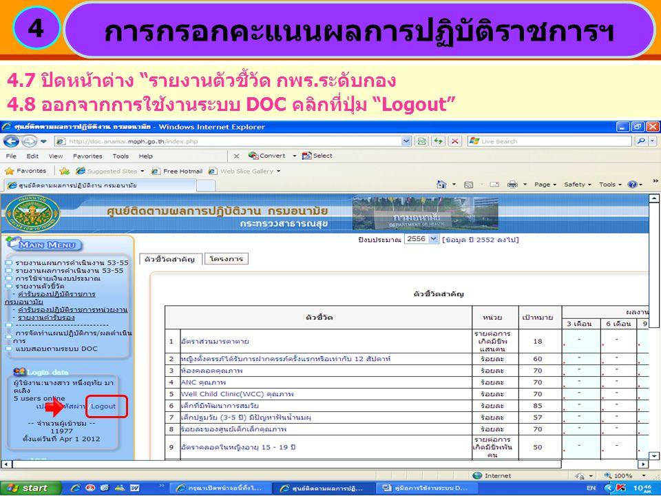 การกรอกคะแนนผลการปฏิบัติราชการฯ 4 4.7 ปิดหน้าต่าง รายงานตัวชี้วัด กพร.ระดับกอง 4.8 ออกจากการใช้งานระบบ DOC คลิกที่ปุ่ม Logout