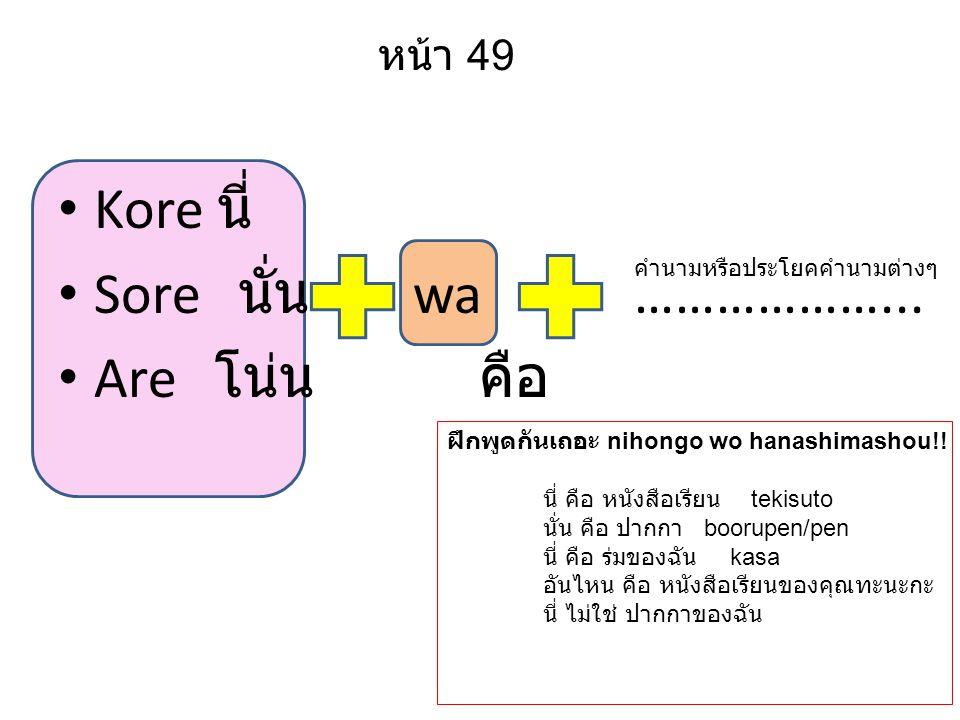 Kore นี่ Sore นั่น wa………………... Are โน่น คือ หน้า 49 คำนามหรือประโยคคำนามต่างๆ ฝึกพูดกันเถอะ nihongo wo hanashimashou!! นี่ คือ หนังสือเรียน tekisuto น