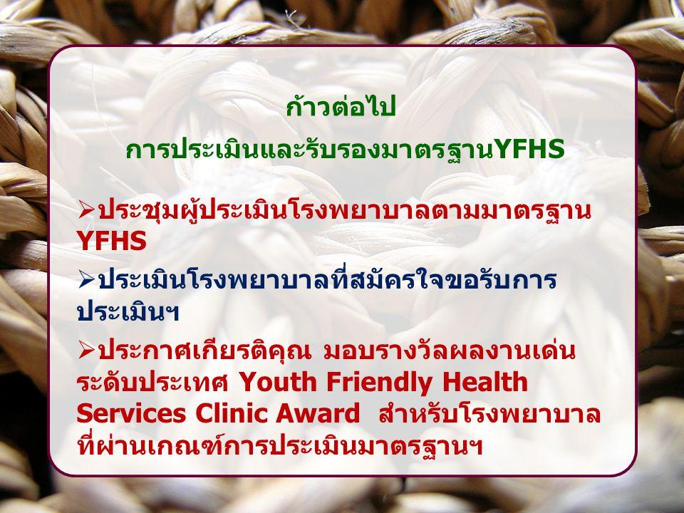 ก้าวต่อไป การประเมินและรับรองมาตรฐานYFHS  ประชุมผู้ประเมินโรงพยาบาลตามมาตรฐาน YFHS  ประเมินโรงพยาบาลที่สมัครใจขอรับการ ประเมินฯ  ประกาศเกียรติคุณ ม