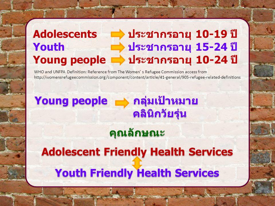 เราต้องให้ความสำคัญกับสุขภาพวัยรุ่น เพื่อ:  ลดการป่วยและการตายทั้งปัจจุบันและ อนาคต  ตอบสนองต่อสิทธิที่ต้องได้รับการดูแล สุขภาพและอนามัยการเจริญพันธุ์  มั่นใจได้ว่าในช่วงอายุของการเป็นวัยรุ่น ได้รับการปกป้องและดูแล เราต้องให้ความสำคัญกับสุขภาพวัยรุ่น เพื่อ:  ลดการป่วยและการตายทั้งปัจจุบันและ อนาคต  ตอบสนองต่อสิทธิที่ต้องได้รับการดูแล สุขภาพและอนามัยการเจริญพันธุ์  มั่นใจได้ว่าในช่วงอายุของการเป็นวัยรุ่น ได้รับการปกป้องและดูแล WHO: Adolescent Friendly Health Services : An Agenda for Change, 2002