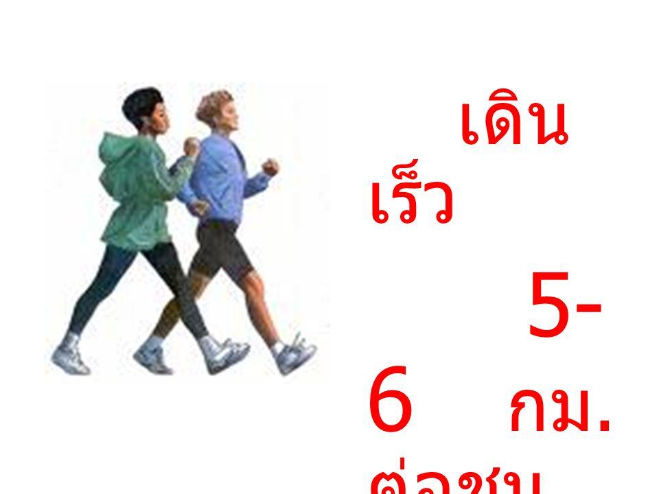 เดิน เร็ว 5- 6 กม. ต่อชม.