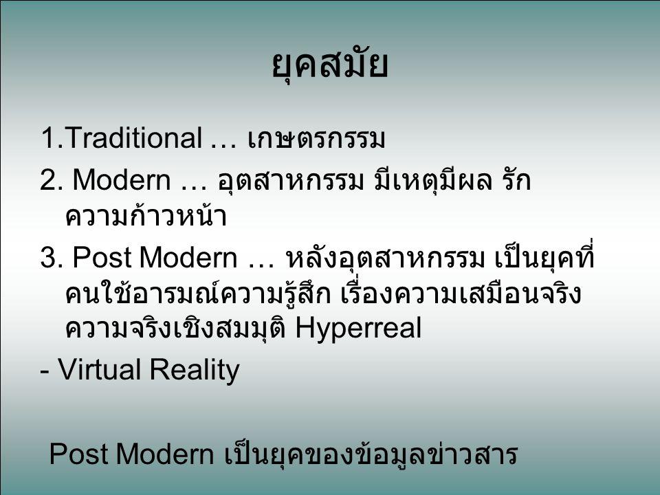 ยุคสมัย 1.Traditional … เกษตรกรรม 2. Modern … อุตสาหกรรม มีเหตุมีผล รัก ความก้าวหน้า 3. Post Modern … หลังอุตสาหกรรม เป็นยุคที่ คนใช้อารมณ์ความรู้สึก