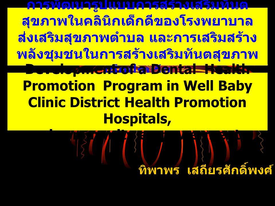 การพัฒนารูปแบบการสร้างเสริมทันต สุขภาพในคลินิกเด็กดีของโรงพยาบาล ส่งเสริมสุขภาพตำบล และการเสริมสร้าง พลังชุมชนในการสร้างเสริมทันตสุขภาพ เด็กปฐมวัย ทิพาพร เสถียรศักดิ์พงศ์ Development of a Dental Health Promotion Program in Well Baby Clinic District Health Promotion Hospitals, and community empowerment.