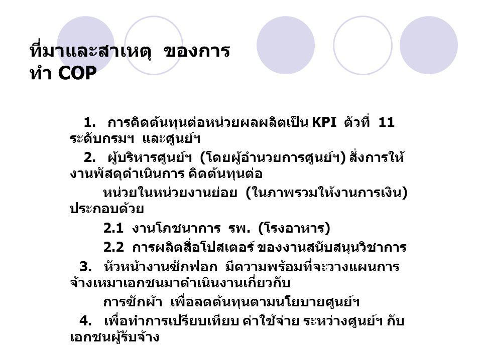 ที่มาและสาเหตุ ของการ ทำ COP 1. การคิดต้นทุนต่อหน่วยผลผลิตเป็น KPI ตัวที่ 11 ระดับกรมฯ และศูนย์ฯ 2. ผู้บริหารศูนย์ฯ ( โดยผู้อำนวยการศูนย์ฯ ) สั่งการให