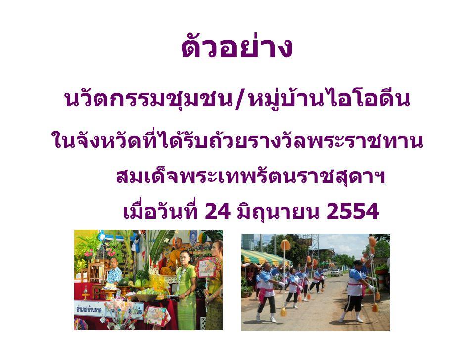 ตัวอย่าง นวัตกรรมชุมชน/หมู่บ้านไอโอดีน ในจังหวัดที่ได้รับถ้วยรางวัลพระราชทาน สมเด็จพระเทพรัตนราชสุดาฯ เมื่อวันที่ 24 มิถุนายน 2554