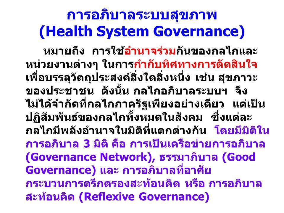 การอภิบาลระบบสุขภาพ (Health System Governance) หมายถึง การใช้อำนาจร่วมกันของกลไกและ หน่วยงานต่างๆ ในการกำกับทิศทางการตัดสินใจ เพื่อบรรลุวัตถุประสงค์สิ