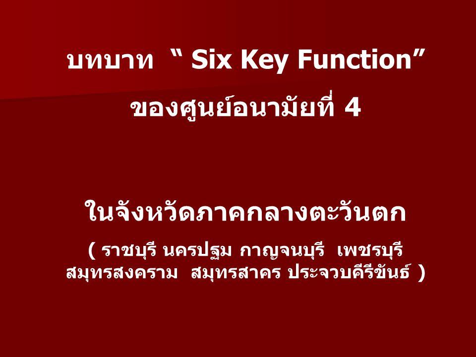 บทบาท Six Key Function ของศูนย์อนามัยที่ 4 ในจังหวัดภาคกลางตะวันตก ( ราชบุรี นครปฐม กาญจนบุรี เพชรบุรี สมุทรสงคราม สมุทรสาคร ประจวบคีรีขันธ์ )