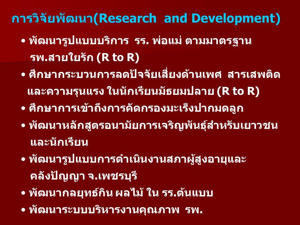 การติดตามประเมินผล (Monitoring and Evaluation) การรับรองมาตรฐาน การประเมินการส่งเสริมพัฒนาการเด็กปฐมวัย การประเมินโครงการแม่วัยรุ่น (Teenage Pregnancy) การนิเทศงานกระทรวงฯ การประเมินกระบวนการการบริหารงาน ส่งเสริมสุขภาพฯ (PP)
