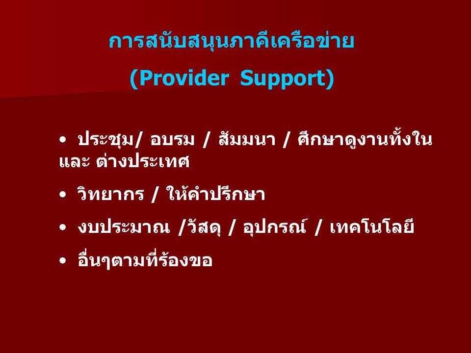 การสนับสนุนภาคีเครือข่าย (Provider Support) ประชุม/ อบรม / สัมมนา / ศึกษาดูงานทั้งใน และ ต่างประเทศ วิทยากร / ให้คำปรึกษา งบประมาณ /วัสดุ / อุปกรณ์ / เทคโนโลยี อื่นๆตามที่ร้องขอ
