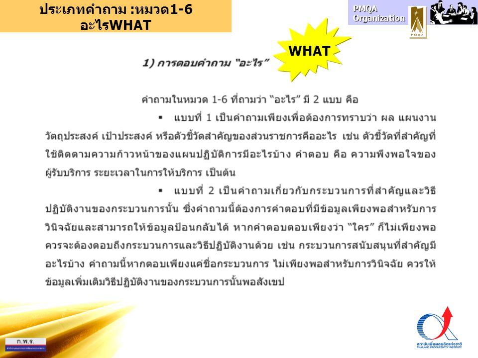 PMQA Organization ประเภทคำถาม :หมวด1-6 อะไรWHAT WHAT