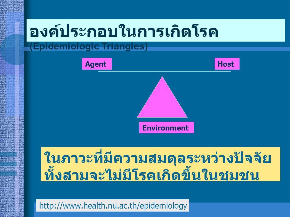 ในภาวะที่มีความสมดุลระหว่างปัจจัย ทั้งสามจะไม่มีโรคเกิดขึ้นในชุมชน (Stage of equilibrium) Environment AgentHost องค์ประกอบในการเกิดโรค (Epidemiologic