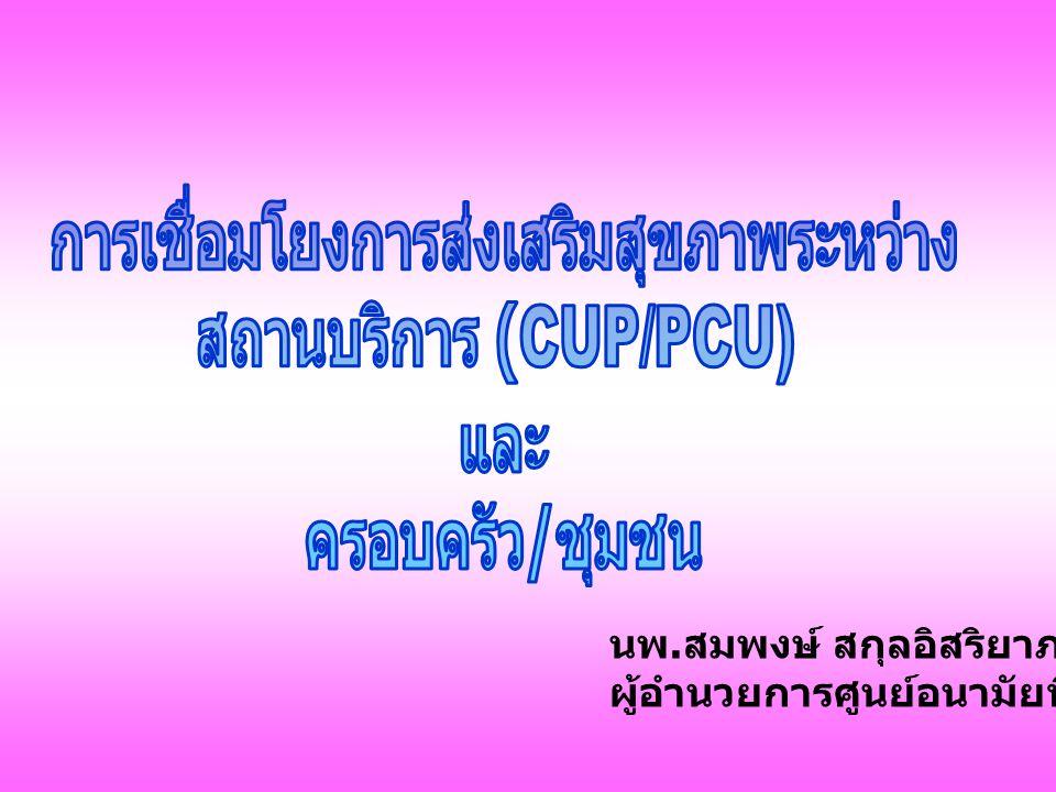 Primary Care Ottawa Charter Bangkok Charter 7 th Global Conference of HP นโยบายสาธารณะเพื่อ สุขภาพ การสร้างสิ่งแวดล้อม เพื่อสุขภาพ การสร้างความเข้มแข็ง ของชุมชน การพัฒนาทักษะส่วน บุคคล การปรับระบบบริการเพื่อ สุขภาพ การสร้างภาคีเครือข่าย การลงทุนเพื่อสุขภาพ การสร้างกฎ / ข้อบังคับ ด้านสุขภาพ การสร้างกระแส การพัฒนาศักยภาพ ภาคีเครือข่าย การเพิ่มพลัง อำนาจชุมชน การรู้เท่าทัน สุขภาพ และ พฤติกรรมสุขภาพ การสร้างความ เข้มแข็งของระบบ สุขภาพ การสร้างภาคี และหุ้นส่วนใน การดำเนินงาน การสร้าง ศักยภาพสำหรับ การส่งเสริม สุขภาพ