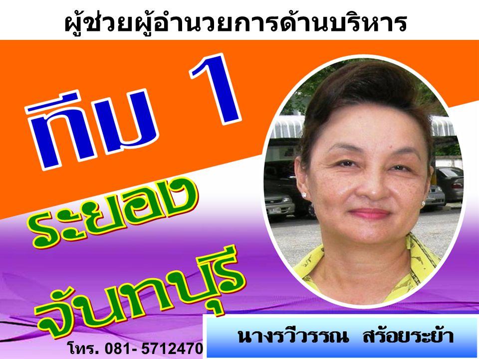 โทร. 081- 5712470 ผู้ช่วยผู้อำนวยการด้านบริหาร